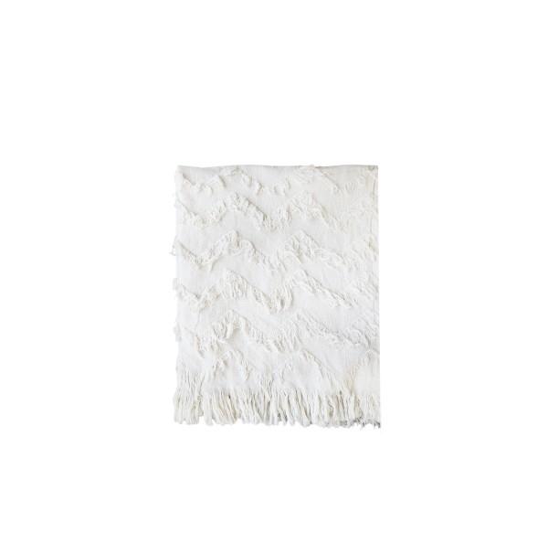 Bavlnený prehoz so strapcami off-white
