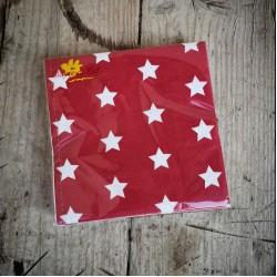 Červené servítky s bielymi hviezdičkami