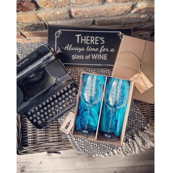 Darčekový set pohárov na víno - modrý